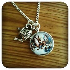 Alice in wonderland Mad Hatters Tea party tea pot Necklace (B3)