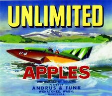 Wenatchee Washington State Unlimited Speedboat Apple Fruit Crate Label Art Print