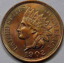1902 Indian Head Cent. Superb Gem BU+, RB. Almost Proof Like. Original & Nice