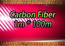 Fibre de carbone rouge vinyle feuille autocollant 1m x 100mm