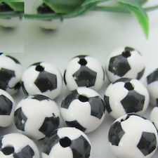 100Pcs Black & White Acrylic Football Charm Round Loose Spacer Beads 8MM