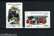 2011 - SERIE 2 TIMBRES ADHESIF FRANCE NEUF - BRIGADE SAPEURS-POMPIERS - Yt.601/2