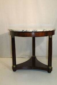 Great French Empire Mahogany Round Marble Top Side End Table, One Drawer
