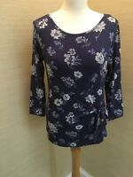 New M&S Ladies Gorgeous Blue Floral Stretchy Tunic Top  8 10 12 14 16 18 20
