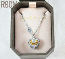 Juicy Couture Pave Heart Charm Wish Necklace silver with box
