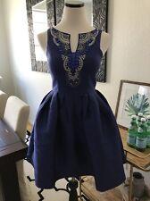 Minuet Royal Blue Beaded Skater Dress Formal Wedding Guest S NWT Holiday Short