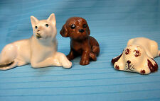Puppy Dogs Vintage Figurines Lot of 3 Ceramic Style Lying Sitting Brown White