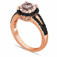 Peach Pink Morganite & Enhanced Black Diamonds Engagement Ring 14K Rose Gold