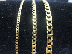 """3/5/7mm MEN WOMEN STAINLESS STEEL GOLD  CURB CUBAN CHAIN NECKLACE 18""""-60""""-GOLD"""