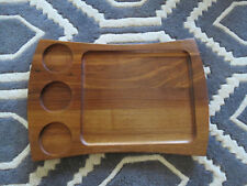 Vtg Mid-Century TEAK TRAY w 3 Condiment Spaces. TV Dinner Splayed Shape 20""