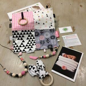 Baby Girl Gift Box Set, Natural Wood & Silicone, Monochrome & Pink, Sensory
