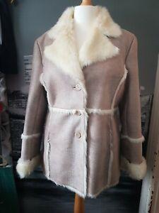 Dennis Basso Faux Sheepskin Coat size L