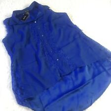 City Chic Top Sz 16 S Blue Sleeveless Button Down Lace Trim Hi Low Hem New