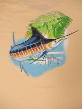 Guy Harvey Pez Espada Saltando de Océano Amarillo XL Mujer Camiseta C1371