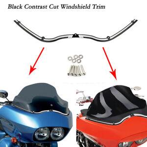 Black Contrast Cut Windshield Trim For Harley Road Glide FLTR FLTRX 1998-2013