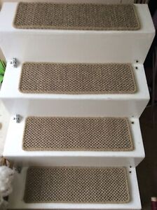 2 Premium Sisal Flat Weave carpet stair pads treads Natural Pewter 60cmx20cm