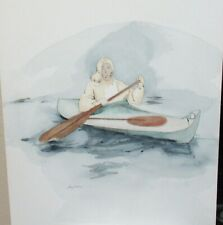 TRACY KAARIN ESKIMO MAN IN KANU ORIGINAL WATERCOLOR LANDSCAPE PAINTING