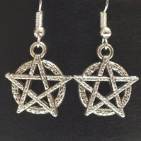 PENTAGRAM_Charm Earrings on Silver Plated Hooks_Pentacle Wiccan Witch Pagan Star