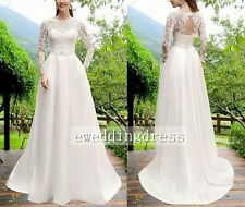 New Lace Satin Wedding Dresses Long Sleeves Bridal Gowns Custom Size 8-26+++