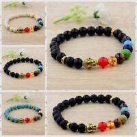 Fashion 8MM Natural Lava Stone Colorful Beads Charm Hand Beads Beaded Bracelets