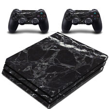 VWAQ PS4 Pro Black Skin Cover Playstation 4 Pro Marble Granite Decal