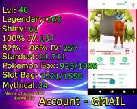 Pokemon Account GO Lvl 40 + 100% IV + SHINY + LEGENDARY + RARES + EVENT