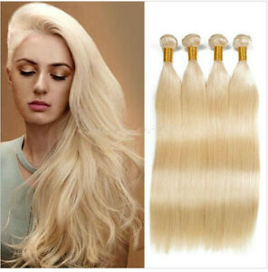 100% Brazilian Human Hair Extensions Straight Weave 1/3 Bundles #613 Blonde