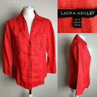 LAURA ASHLEY WomenTop Blouse Linen Red Button Down Office Casual UK 14 Holiday