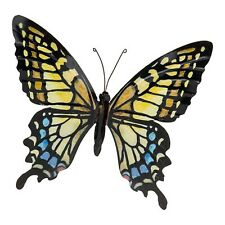 Stunning Metal Wall Art Decor Garden or Home Gold Colourful Butterfly 31 x 35cm