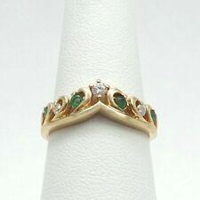 10K Gold 1/4ctw Emerald Diamond V Band Enhancer Ring size 7