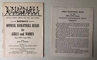 Reprint Official Basketball Rules For Girls & Women 1955-1956 Booklet+Supplement