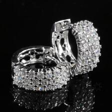 18K White Gold ICED OUT AAA Lab Diamond Micropave Huggie Hoop HipHop Earring H3S
