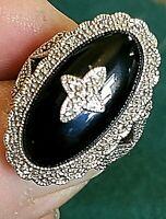 Ladies Ring, Estate Sterling Silver 925 Natural Black Onyx & Sterling 10.2g