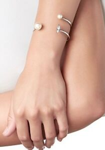 Mimco Rendezvous Silver Pearl Bracelet Wrist Cuff $99.95 New + Mimco Dust Bag