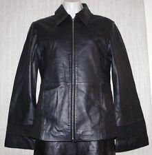 BLACK LEATHER INDIA FULL ZIP POCKET WIDE SLEEVE Blazer WOMEN  JACKET COAT SIZE:M
