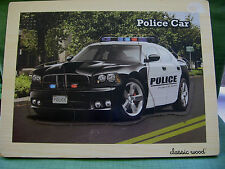 "Classic Wood Board Police Car Puzzle with Siren sound 15.5"" Long X 11+3/4""Wide"