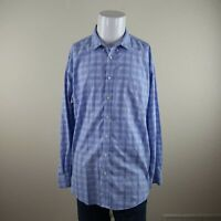 Joseph & Feiss Blue Long Sleeve Non Iron Classic Fit Plaid Casual Shirt Mens XLT
