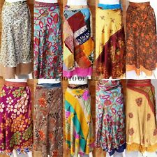 Wholesale lot Silk Vintage Indian Wrap Skirt Women Around Magic Sari Boho Rapron