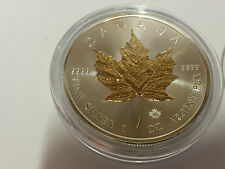 Canada Maple Leaf 2016 5 CAD 1 oz 999 Silber Silbermünze m. gilding of part of