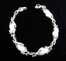 Sarah Coventry MY FAIR LADY Vintage BRACELET Rhinestones White Inset Goldtone