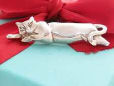 Tiffany & Co Silver Sleeping Cat Meow Kitten Brooch Pin