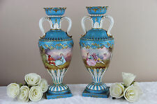 Antique pair  French 19th c Sevres porcelain marked Victorian scene Vases