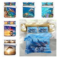 3D Ocean Animal Dolphin Turtle Duvet Cover Bedding Set Quilt Cover Pillowcase