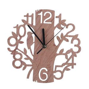 Retro Wooden Wall Clock Tree-shaped Creative Home Decor Watch No Ticking Noise