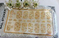 Arte en uñas 'Oro Encaje Flor dejar remolinos de calcomanías decorativas Envoltura Auto Adhesivo H06