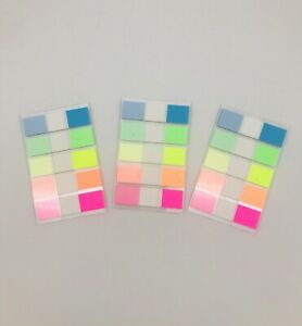 Assorted Color Fluorescent Memo Index Sticky Tabs/Notes, 3 Packs, 300 pcs