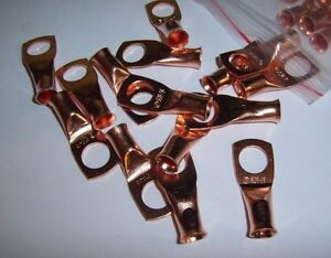 """(4) 3/8"""" Wire Ring Terminal Copper 6 AWG Gauge Connectors Terminals Car Power"""