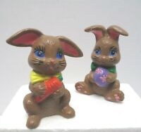 """Vintage Lot of 2 Easter Bunny Babbits Handpainted Ceramic 4.25"""" Tall Carrot Egg"""