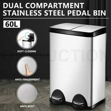 60l Dual Compartment Pedal Stainless Steel Rubbish Bin Waste Garbage Trash Can