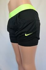 Women's Nike 2 In 1 Running Shorts Black And Neon Yellow Mesh Dri Fit